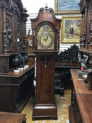 """English Grandfather Clock With Date Jean Gruchy Case 84""""  1790-1820"""