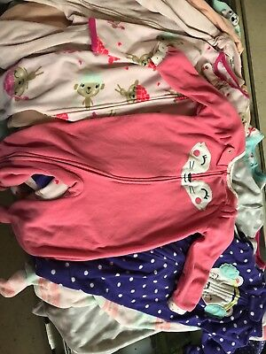 Lot of 9 Baby Girls Size 18 Months Carter's Pajamas Fleece Sleepers with Feet