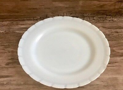 Vintage USA Milk Glass Dinner Plate With Scalloped Edges