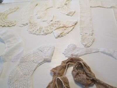 Vtg Antique Crochet Lace Lady's Collars Lot Of 10 Ecru Victorian White Wide