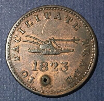 1823 Upper Canada Half Penny Token To Facilitate Trade With Hole