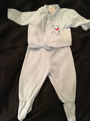 Vtg KESSLER Baby Boy Footed Knit Sleeper 2 Piece Outfit Snap Pajamas 6-9 mnths