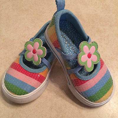 f9ee3858 Toddlers girl size 4 jumping beans shoes rainbow flower mary jane shoes  preowned
