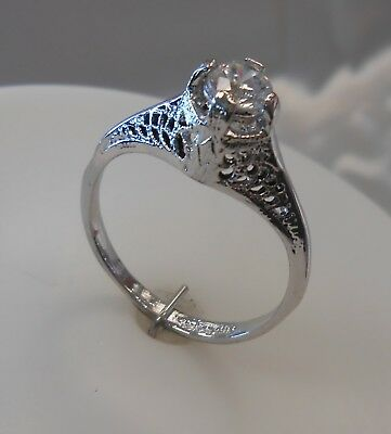 Vintage 14KG Plated Silver Tone Filigree Cubic Zirconia Solitaire Ring Size 8