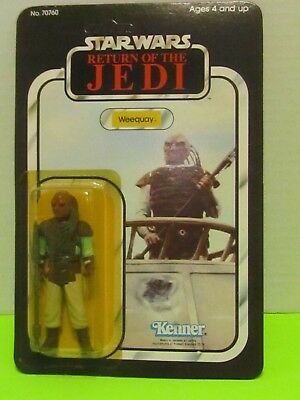 1983 Kenner Star Wars Return of the Jedi Weequay Figure- 65 back-no punch