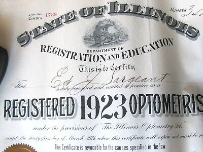 1920's Illinois License Certificate Optometrist , Eye Doctor , Decatur Ill