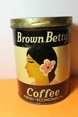 Vintage Brown Betty  Brand Coffee Tin Advertising Collectible Graphics