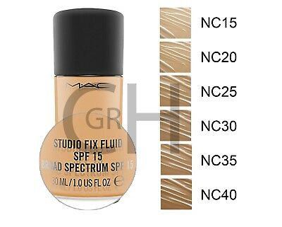 MAC Studio FIX FLUID SPF 15 foundation ALL SHADES. 30ml Brand NEW + FREE PUMP