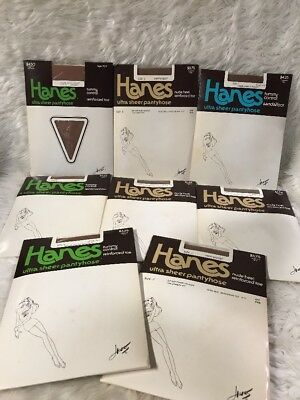 8 Pairs HANES vintage Ultra Sheer Pantyhose barely there size C new package