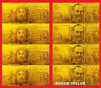 $100 x 4  GOLD UNCUT SHEET AUSTRALIA  BANKNOTE POLYMER 24KT BANK  NOTE LIMITED