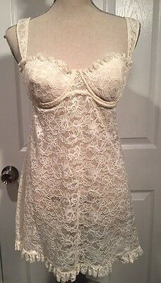 Victorias Secret Ivory Lace Teddy Nightgown Negligee Babydoll 36C New with tags