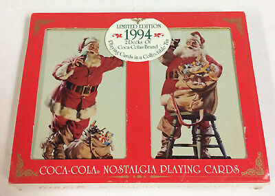 2 Decks Vintage Coca Cola Nostalgia Playing Cards In Tin Ltd Ed New Sealed 1994