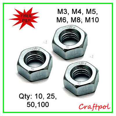 Hex Full Nuts - Class 8 - Zinc Plated