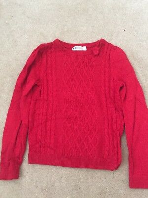 H&M Red Cable Knit Jumper Size 5-6