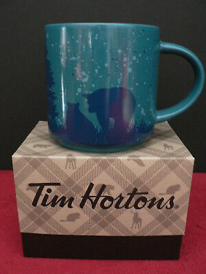 NEW Tim Hortons Limited Ed HOLIDAY Coffee Mug - BEAR / BLUE - Gift Box 2017