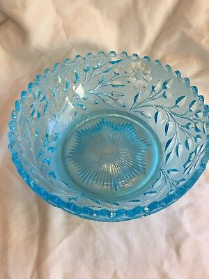 Westmoreland Blue Bowl with etched flowers 7.5 inch bowl - super pretty