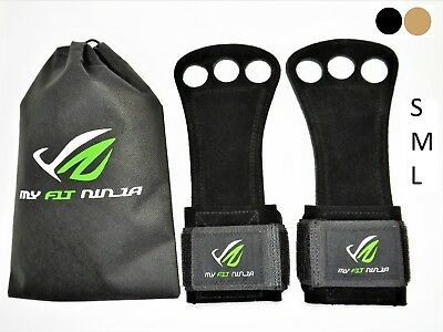 Myfit Ninja Hand Grips Leather Crossfit Small 3 Hole Gymnastics Training Gloves