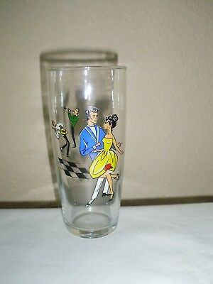 Vintage mid century 50s-60s tumbler/glass with dancing rock n'roll couple