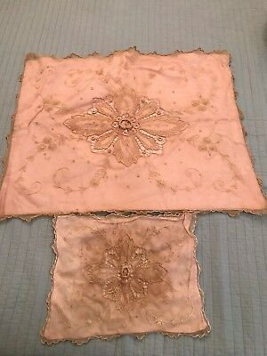 "Set of two Antique Baby Crib Pram Pillow COVER 29"" x 24"" &  15"" x 11.5"""