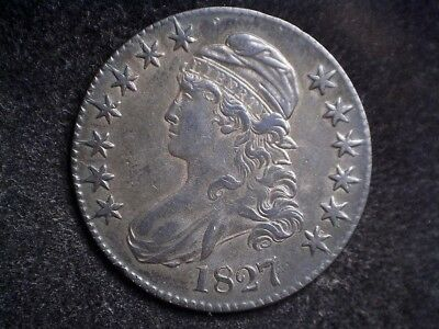 1827 50C O-132 Square Base 2, Capped Bust Half Dollar, uncertified, busin strike