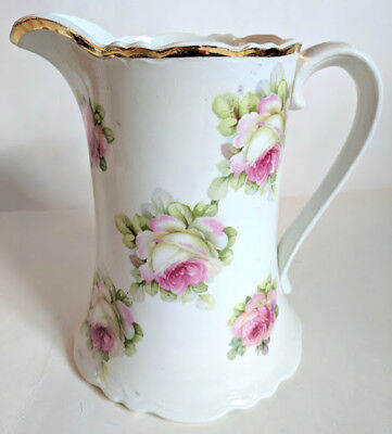White & Pink Rose Ewer with Gold trim Round Water Pitcher Crown Globe Home Decor