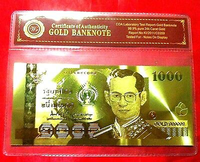Thailand Gold Banknote 1000 Thai Baht King Rama  Color Gold Coloured Note