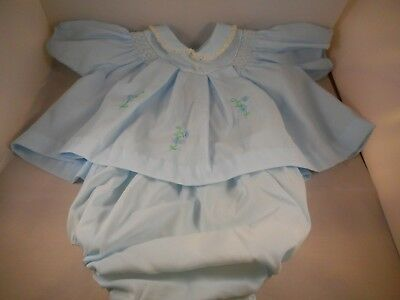 2 Piece Vintage 1960s Child Baby Doll Girl Clothing Dress Blue Peter Pan Collar