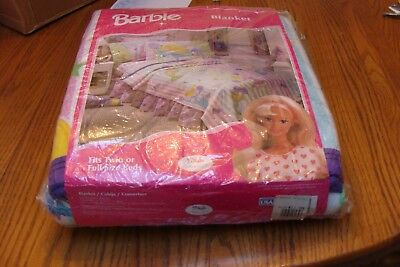 New Unopened Vintage Barbie Blanket By Bibb 1998  Twin Or Full Size