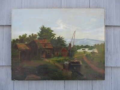 Antique American Folk Art Oil on Canvas Landscape with Children at Well
