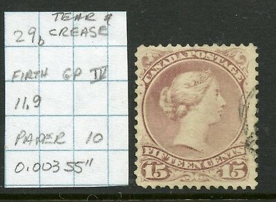 "Weeda Canada 29b Used 15c LQ, paper 10, Firth GP IV, perf 11.9, 0.00355"", tear"