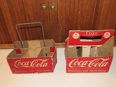 2-Vintage Coca Cola Cardboard Carriers one with Wire Metal Handle 6 bottles