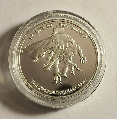 "New 2014 ""T-REX DINOSAUR"" 1/10th OZ 999.0 Pure Silver Proof Coin a"
