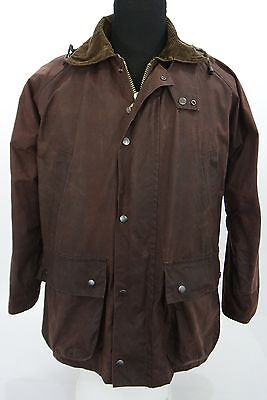 Full Zip Waxed Cotton Jacket Coat Corduroy Collar Bordeaux Made in England Small