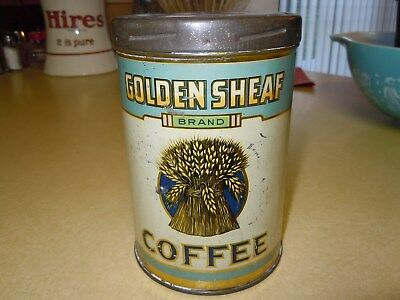 """Old Vintage 1Lb Twist Top """" Golden Sheaf """" Brand Coffee Tin Can - Rare - Photos"""