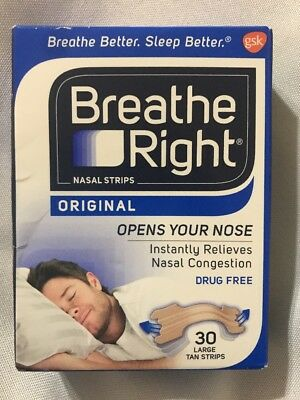 Breathe Right Nasal Strips Original Tan Large 30 Ct New Sealed