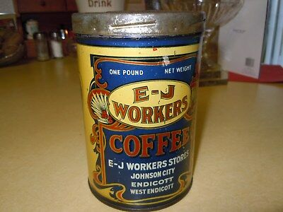 """Old Vintage 1Lb Twist Top """" E - J Workers """" Brand Coffee Tin Can - See Photos"""