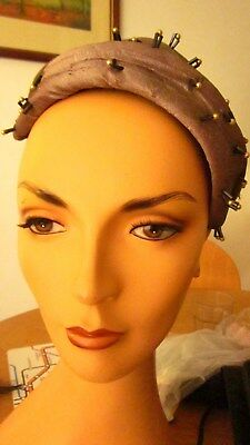 1950,s vintage wool mushroom felt caplet with beads  and bow back by Rikes USA