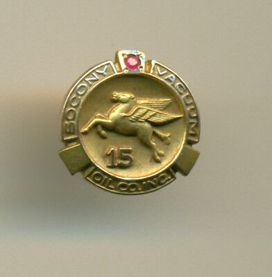 Rare old gold Socony Vacuum oil gas petro ruby 15 year screw back pin! - WoW!