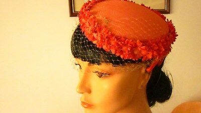 1950,s orange tilt hat with daisies and veiling
