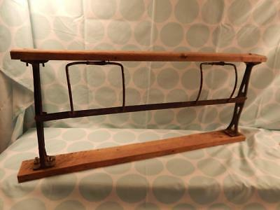 Vintage Metal & Wood Butcher Store Counter Wrapping Paper Roll Cutter & Dispens