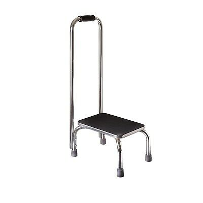 Foot Stool With Safety Handrail Black Non Slip Medical Step Stool With Handle