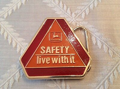 John Deere Safety Live With It SMV Sign Belt Buckle dated 1989