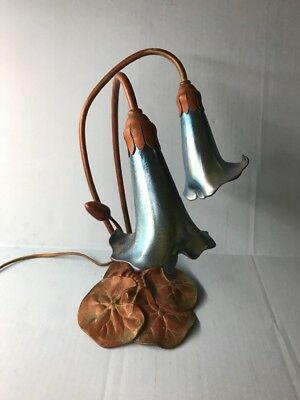 Lundberg Studios American Deluxe Lily Lamp - Bronze and Art Glass - Art Nouveau