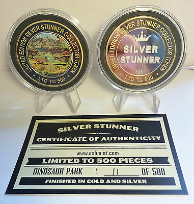 """COLOUR Dinosaur Park"" 43mm ""SILVER STUNNER"" TOKEN/COIN, C.O.A. $50 at Mint"