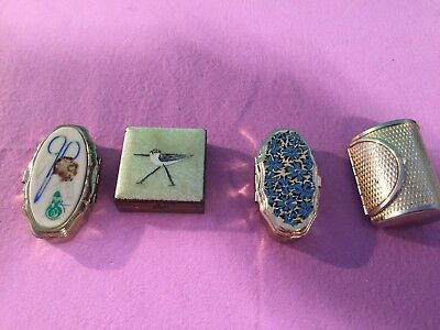 Vintage Lot of 4 Pill Boxes Sewing Boxes (pre-owned)
