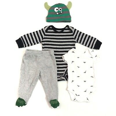 CARTER'S Baby Boys Newborn NB 3M Dino Monster Outfit LOT