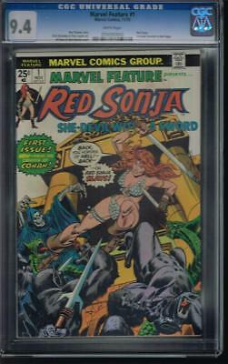 Marvel Feature # 1 CGC 9.4 NM White pages, 1st solo Red Sonja story, Gil Kane