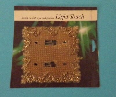 Vtg NOS Edmar Light Touch Double Switch Plate Brass Raised Flower Gold Bronze A
