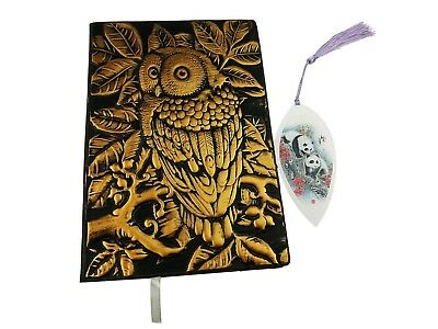 3D Cover Owl Embossed Leather Notebook Journal Handmade Planner Lined Pages Writ