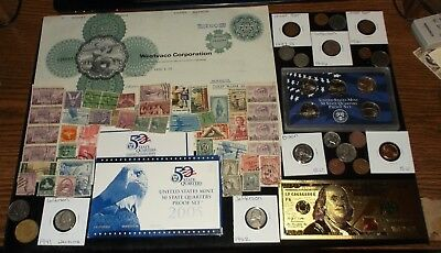 HUGE JUNK Drawer Coin Lot Proof Coins+Old Stamps+Old Coins+Stock+WWII+Wheat Ears
